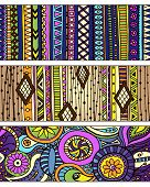 stock photo of aztec  - Set of unique seamless pattern and borders - JPG