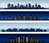 City panoramas buildings at night and day vector illustration