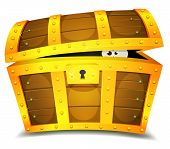 foto of chest  - Illustration of a cartoon treasure chest with funny creature eyes spying from inside - JPG