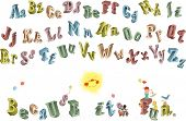3D alphabet with uppercase and lowercase letters and composition with funny children isolated on white background
