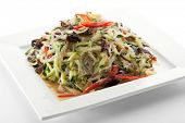 stock photo of fungus  - Cellophane Noodles Salad with Chicken and Vegetables and Black Fungus - JPG