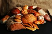 Different types of bread close up
