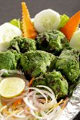 foto of kababs  - Hariyali kabab is a Punjabi style chicken tikka or kabab made with combination of mint and coriander - JPG