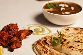 foto of paneer  - Paratha with paneer masala and chicken kebab - JPG