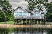 Wooden House On The River Bank, Amazon River, Brazil.