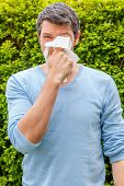 picture of hay fever  - springtime man suffering with white tissue - JPG