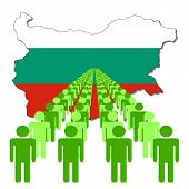Lines of people with Bulgaria map flag vector illustration