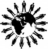 Worldwide workforce people team ready to work and support business
