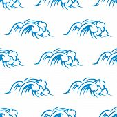 Curling breaking waves seamless pattern