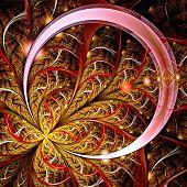 Dark Red Fractal Flower, Digital Artwork