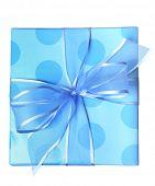 blue present with polka dots and blue ribbon