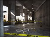 Crime scene in an empty building