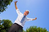 Portrait of successful businessman with arms outstretched standing against blue sky