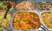 Different salads at a buffet