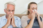 Sick couple blowing their noses sitting on the couch at home in the living room