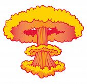 foto of nuke  - A Nuke explosion three clouds yellow and orange - JPG