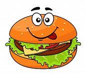 Tasty meaty cheeseburger on a sesame bun
