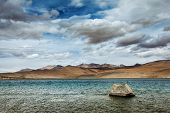 Himalayan mountain lake in Himalayas Tso Moriri (official name: Tsomoriri Wetland Conservation Reser
