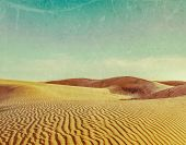 Vintage retro hipster style travel image of dunes of Thar Desert. Sam Sand dunes, Rajasthan, India w