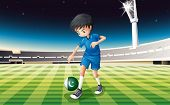 Illustration of a soccer player using the ball with the Pakistan flag