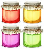 Illustration of the four colorful jars that are  tightly covered on a white background