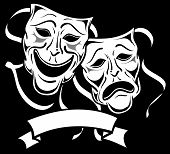 foto of drama  - Two black and white drama masks with Banner - JPG