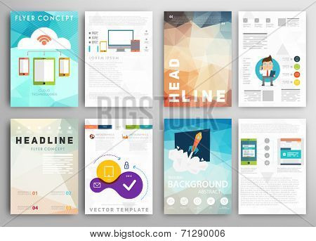 Set of Flyer, Brochure Design Templates. Geometric Triangular Abstract Modern Backgrounds. Mobile Te poster