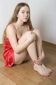 Pretty Woman In Red Nightdress