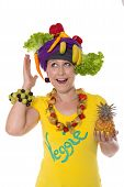 picture of turban  - female with turban and jewelry made of fruits and vegetables - JPG