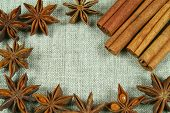 stock photo of ouzo  - Frame of Christmas spices  - JPG