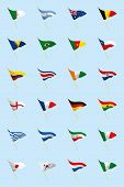 a set of world flags on a blue background