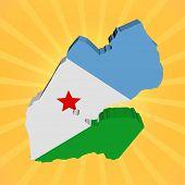 Djibouti map flag on sunburst illustration