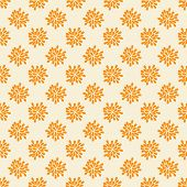 Seamless pattern with abstract orange flowers