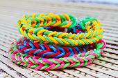 image of rubber band  - Colorful Rainbow loom bracelet rubber bands fashion close up - JPG