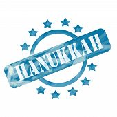 Blue Weathered Hanukkah Stamp Circle And Stars Design