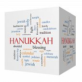 Hanukkah 3D Cube Word Cloud Concept