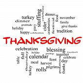 stock photo of thanksgiving  - Thanksgiving Word Cloud Concept in red caps with great terms such as dinner harvest holiday turkey and more - JPG