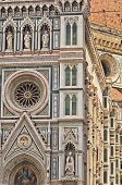 External details of Santa Maria del Fiore cathedral in Florence, Tuscany