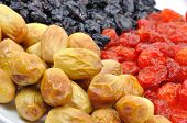 Dried Fruit on White Plate Isolated Close-Up