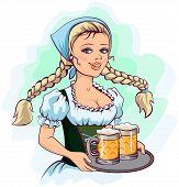 Oktoberfest girl waitress holds tray of beer