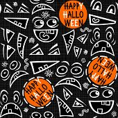 Funny scary faces messy autumn holiday seamless pattern with colorful halloween wishes on dark
