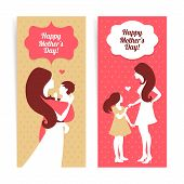 Happy Mother's Day. Banners of beautiful silhouette of mother