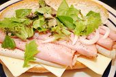 picture of deli  - Deli Sandwich Topped with Lettuce and Spinach Greens - JPG