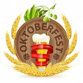 picture of hop-plant  - Oktoberfest Poster with Barrel Glass of Beer Barley and Hops vector isolated on white background - JPG