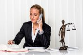business woman sitting in an office. symbol photo for managers, independence or lawyer.
