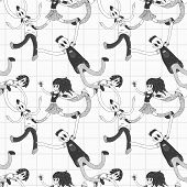 seamless pattern with doodle teenagers