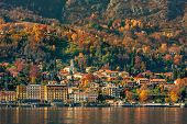 Small town on the shore of Lake Como in autumn in Italy.