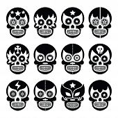 pic of wrestling  - Vector icons set of Mexican wrestling masks on skulls isolated on white - JPG