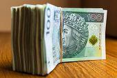 Stack of polish zloty banknotes