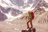 Hiker Near Belukha Mountain, The Highest In Siberia